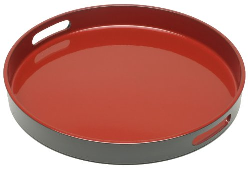 Kotobuki Red and Black Lacquer Serving Tray, 13-1/2-Inch