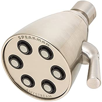 Speakman S-2252-BN Signature Icon Anystream High Pressure Adjustable 2.5 GPM Solid Brass Shower Head, Brushed Nickel