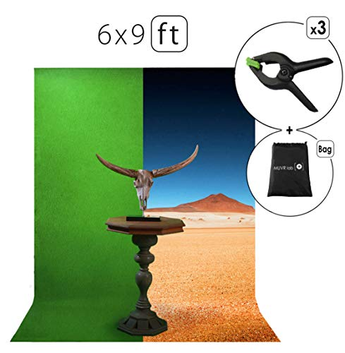 Green Screen Photo Backdrop or Background 6х9 Ft – 100% Cotton Muslin Chromakey Curtain Collapsible Set for Photography Studio Videos Gaming - Bonus 3 Backdrop Clamps & a Carry Bag - MUVR lab from MUVR lab