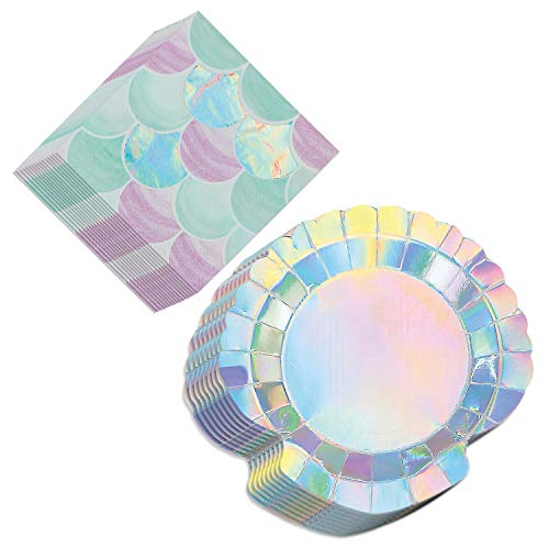 (Mermaid Party Supplies - Shimmering Clamshell Dessert Plates and Mermaid Scales Napkins (Serves 16))