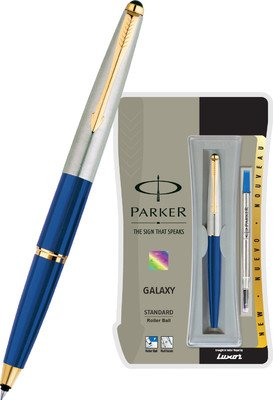 Parker Galaxy Stainless Steel Gold Trim Roller Ball Pen