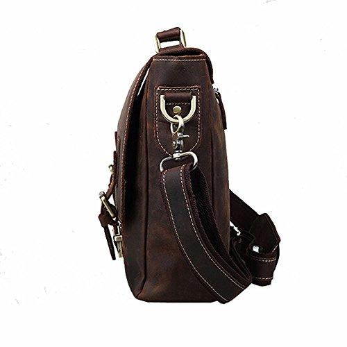Othilar Herren braun Büffelleder Tasche Handtasche Schultertasche Aktentasche für IPad Laptop bis 14 Zoll BQeBfQAz