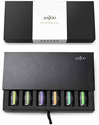 Anjou Aromatherapy Top 6 Essential Oils 100% Pure & Therapeutic Grade, Basic Sampler Gift Set, 6 / 10 ml (Lavender, Tea Tree, Eucalyptus, Lemongrass, Orange, Peppermint)