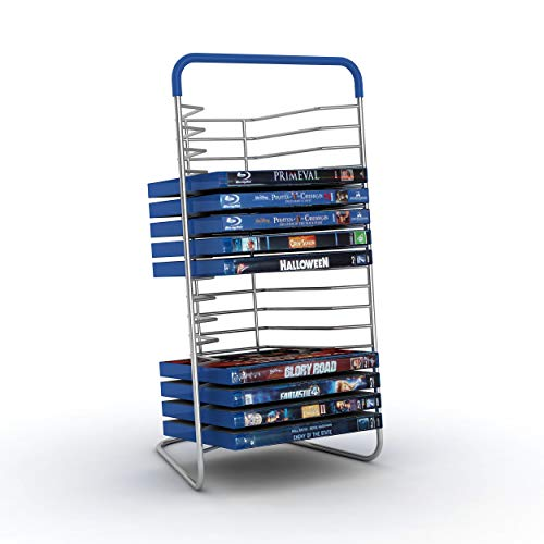 Atlantic Nestable 16 DVD/Blu-Ray/Games Rack - Space Saving Modern Design in High End Gunmetal Finish with Blue Molded Handle, PN63735592