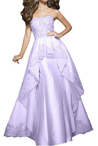 Toscana sposa bianco senza spalline applicazione abiti vestiti prom sera lungo party abiti vestiti da ballo Satin lilla 64