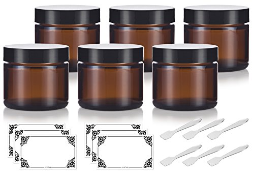 Amber Glass Straight Sided Jar - 2 oz (6 Pack) + Spatulas and Labels