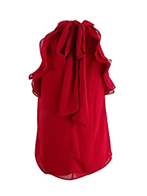 Miss Chievous Juniors' Ruffled Tie-Back Top (S, Red Moon)