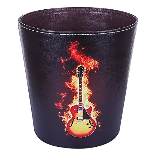 HMANE 10L/2.64 Gallon PU Leather Trash Can Waterproof Personalized Guitar Pattern Design for Home Office Bathroom - (Guitar B)
