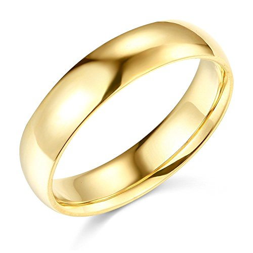 Plain Wedding Band Solid 14k Yellow Gold Ring Regular Fit Polished Finish, 5 mm Size 10 by ZenJewels