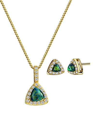 18K Gold Plated Opal Jewelry Set Sterling Silver Triangle with Cubic Zirconia Accented Fine Jewelry for Women