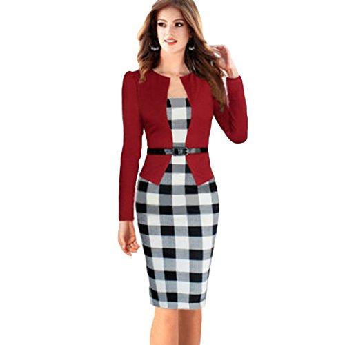 Tartan Business Kleid mit Gefälschte Rot Houndstooth Bodycon Damen Gürtel June's Zweiteilige Young BleistiftKleid ZqwnEHfUY
