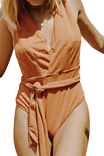 CUPSHE Women's Solid High Waisted Halter One Piece Swimsuit Sea Escape Swimwear Large