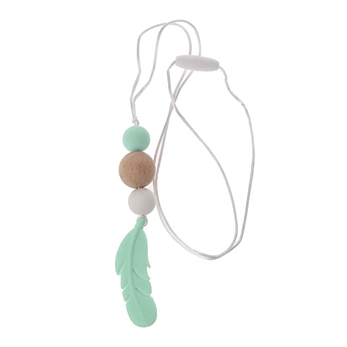 Pendant Feather Shape Teething Necklace Silicone Soother Chew Toy Baby Teether