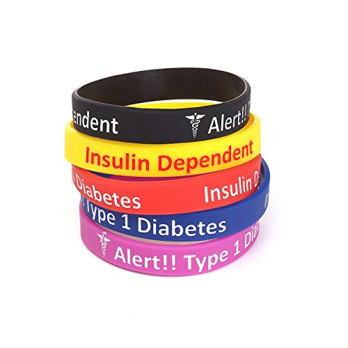 Silicone Medical Alert Bracelet Wristbands Engraved With Diabetes Insulin Dependent 5 Pack multi-color