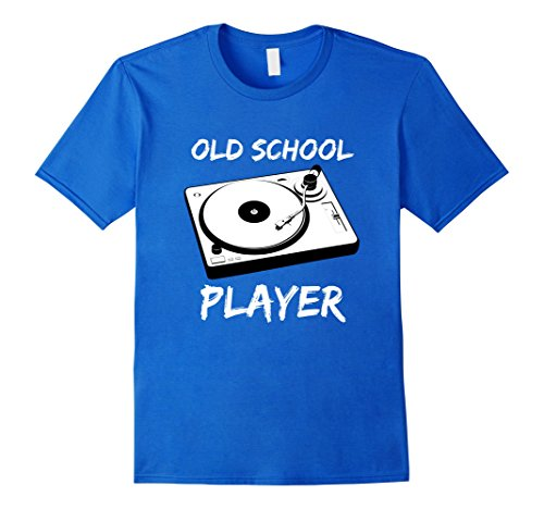 Men's Old School Record Player Distressed Music Funny T Shirt XL Royal Blue