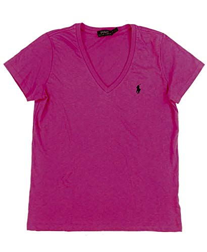 (Polo Ralph Lauren Women's Pony Logo V-Neck Tee (Large, Shocking Pink (Navy Pony)))