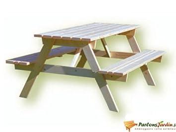 Table de pique nique en bois Forestière 1,5m: Amazon.fr: Jardin