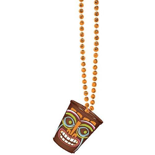 [Amscan Hawaiian Summer Luau Party Tot Tally Tiki Shot Glass Bead Necklace, Orange, 12 x 2