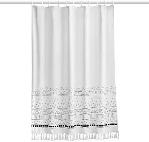 YoKii Tassel Fabric Shower Curtain, 84 Inch Extra Long Boho Striped Bathroom Shower Curtain Black Grey White Chevron Polyester Bath Curtain Sets (72 x 84, Nordic Chic)