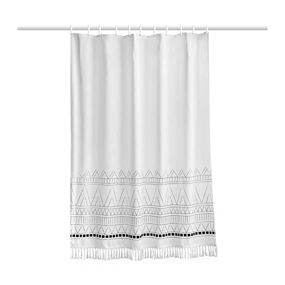 YoKii Tassel Fabric Shower Curtain, Black Grey White Boho Striped Chevron Polyester Bath Curtain Set with Hooks, Decorative Spa Hotel Heavy Weighted 72-Inch Bathroom Curtains, (72 x 72, Nordic Chic) - KEEPS WATER INSIDE -- NEW resin coating technology keeps water slide off the fabric shower curtain. No liner required. YOUR STYLE OUTSIDE -- This boho shower curtain with adorable white pom pom trim on the bottom. Pure white base color means that it will work with most color schemes. 180 GSM FABRIC -- Durable but soft feeling fabric with 180 GSM means very heavy duty, which ensures a bathroom shower curtain last longer and will be more pricey. - shower-curtains, bathroom-linens, bathroom - 41De3O%2BOaXL. SS570  -