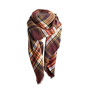 Yanekop Womens Plaid Blanket Scarf Big Square Scarves Warm Tartan Checked Shawl