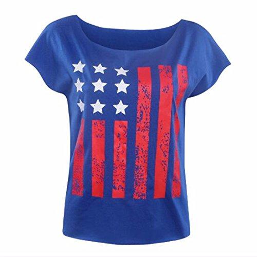 QIYUN.Z Las Mujeres De La Bandera Americana De Impresion De Manga Corta Azul Camisetas Patrioticas Girl Camisetas Azul
