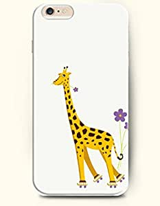 iPhone 6 Plus Case 5.5 Inches Giraffe and the Lovely Purple Flowers - Hard Back Plastic Case OOFIT Authentic