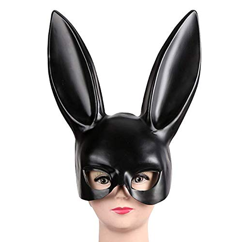 Price comparison product image Women Black Masquerade Mask Rabbit Eyemask with Ears Bunny Mask for Halloween Party Costume Cosplay Dressing Up