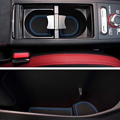 (Custom Fit Cup and Console Liner Acessories for Subaru STI 2015 2016 2017 2018 2019 2020 (Blue Trim))