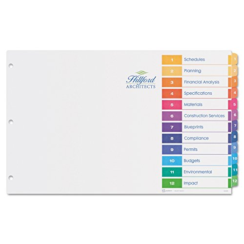 Avery 11149 Ready Index Customizable Table of Contents Multicolor Dividers, 12-Tab, 11 x 17