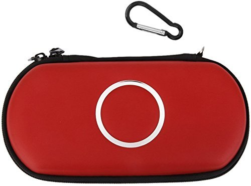 Hipipooo Travel Portable Carrying Pocket Protective Pouch Bag Cover Zipper Case Hard Pack for Sony PSP 1000/2000/3000 Game Red Psp 2000 Crystal Case
