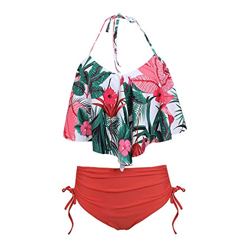 Tantisy ♣↭♣ Fashion Women's Two Piece Falbala High Waisted Bikini Set Retro Flounce Halter Tankini Bathing Suit Swimsuit Red ()