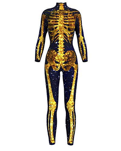 Fashion Zip Jumpsuit 3D Printing Golden Skull Party Costumes Coaplay Playsuit Bodysuit for Women -