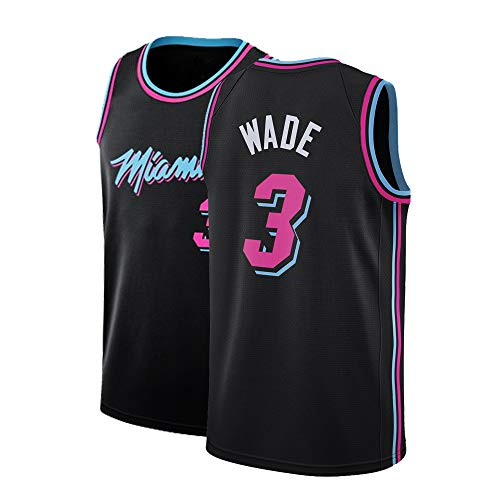 Gumfor Mens Miami 3 Wade Jersey Basketball Adult City Dwyane Sizes Black (Black, X-Large) ()