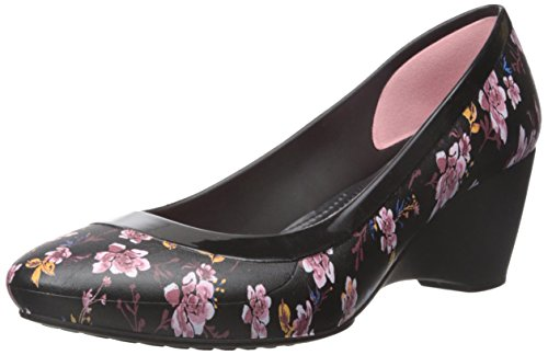 (Crocs Women's Lina Graphic W Wedge Pump Black Pink Floral Size)