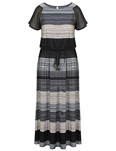 Chicwe Women's Plus Size Luxury Raglan Sleeves Maxi Dress with Belt 18, Multi Grey - Maxi Dresses For Women For Church