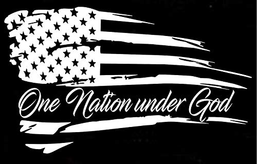 (Distressed American Flag One Nation Under god Patriotic Vehicle Decal Sticker Decor)