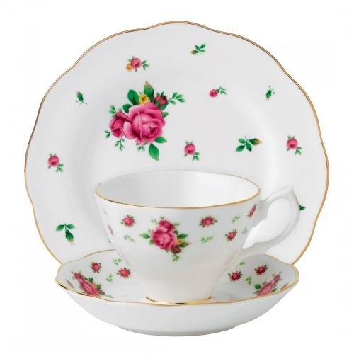 Royal Albert 3-Piece New Country Roses Teacup, Saucer and Plate Set, White