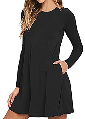 Women's Long Sleeve Casual Loose Swing T-Shirt Dress