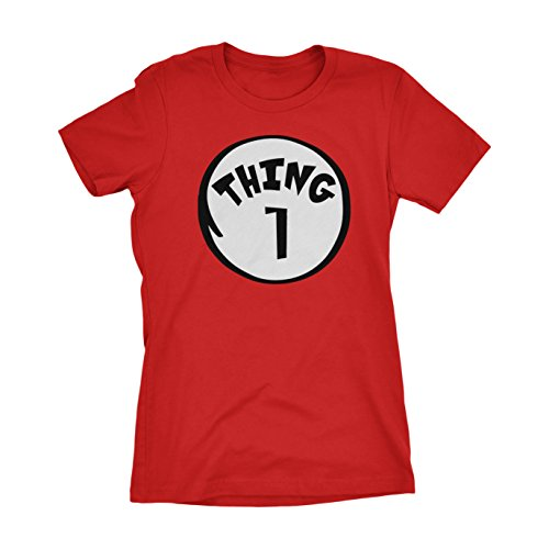 Thing I And Thing 2 Costumes (CUSC Thing 1 Women's T-shirt Funny Halloween Costume Xmas Humor 1 2 Dad Mom Shirt Red Large)