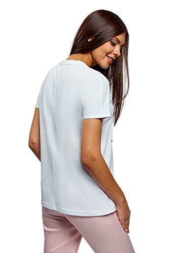 T Donna con Cotone in 1019p oodji Collection Bianco Shirt Stampa YA5wxEq