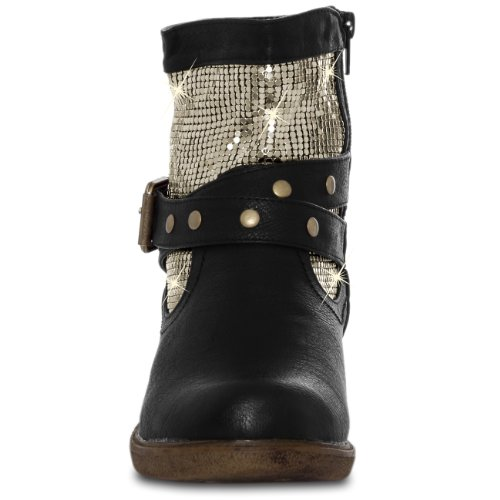 CASPAR Womens Vintage Ankle Boots with Beautiful Metal Decoration  rZEiJ