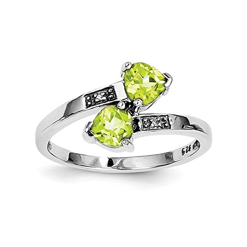 Sterling Silver Polished Open back Rhodium-plated Rhodium Peridot and Diamond Heart Ring - Size 7