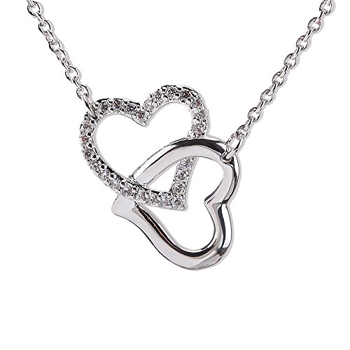 Bala ❤️ My Destiny ❤️ White Gold Plated Silver Heart Double Heart Pendant Necklace for Girls Women Girlfriends Charm Mother Fake Diamond Gift Jewelry 16+2