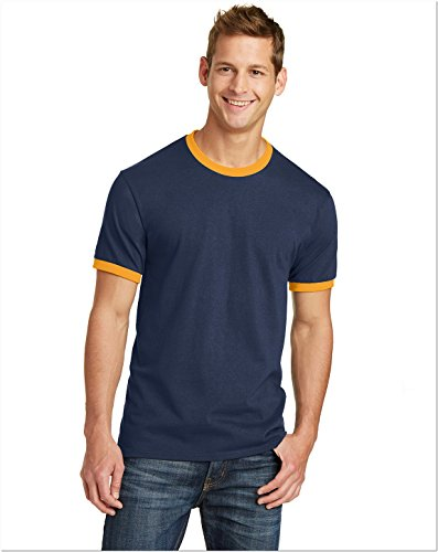 Port & Company Mens 5.4-oz 100% Cotton Ringer Tee PC54R -Navy/ Gold (100% Cotton Mens Tee)