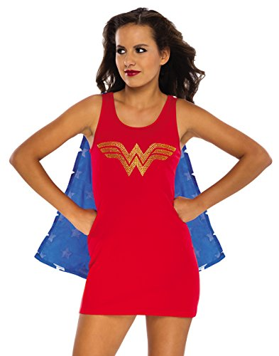 Rubie's DC Comics Justice League Superhero Style Teen Dress with Cape Rhinestone Wonder Woman, Red, Small Costume]()