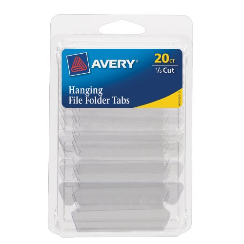 1/5 Cut Tab Hanging (Avery Hanging File Tabs, 1/5 Cut, Clear, Permanent, Pack of 20  (6727))