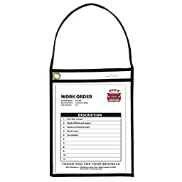 C-Line Stitched Shop Ticket Holder with Black Strap, Both Sides Clear, 9 x 12 Inches, 15 per Box (41922)