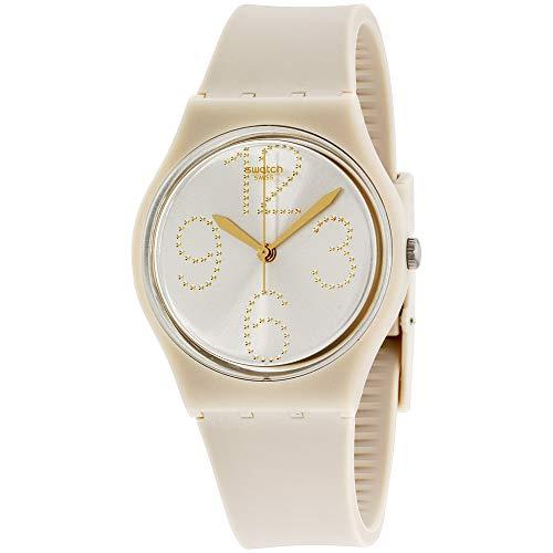 Swatch Sheerchic Silver Dial Beige Silicone Strap Ladies Watch GT107