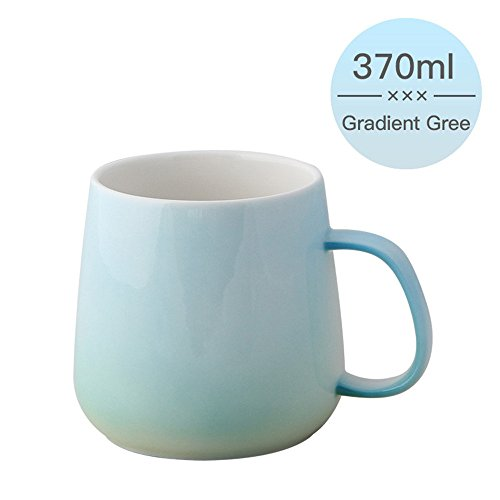 UPSTYLE Gradient Color Colorful Ceramic Cup Bone China Pretty Office Mug Cute Tumbler Reusable Coffee to go Pottery Travel Mug for Tea/Water/Milk Perfect for Kids&Adult Gifts12.5OZ (Green) -  FJ-A070-A2